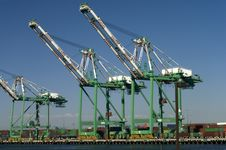 Cranes In A Harbor Royalty Free Stock Photo
