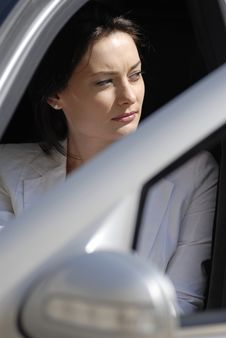 Free Businesswoman In The Premium Car Stock Images - 9075854