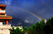 Free Chong-san Temple And Double Rainbow Stock Photography - 9076472