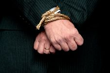 Business Man With His Hands Tied Stock Photography
