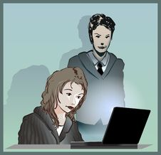 Free Businessman And Businesswoman With Laptop Stock Photo - 9077190