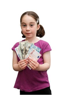 Free Smiling Little Girl Holds Banknotes Stock Photo - 9077650