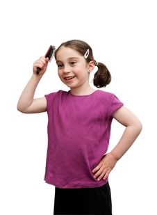 Free Cute Little Girl Brushes Her Hair Stock Images - 9077654