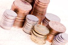 Coin Piles Royalty Free Stock Photo