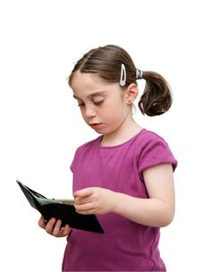 Free Serious Little Girl Holds A Wallet Royalty Free Stock Photography - 9077697