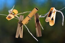 Free Old Clothespins. Royalty Free Stock Image - 9077826