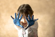 Free Girl With Hands Painted. Royalty Free Stock Photo - 9077855