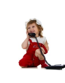 Free Cute Girl Speaks On The Phone Royalty Free Stock Images - 9078589