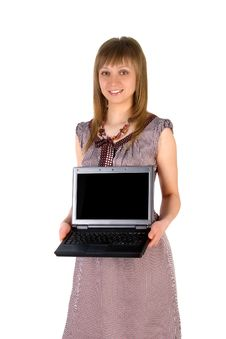 Cute Woman Hold A Laptop Stock Photography