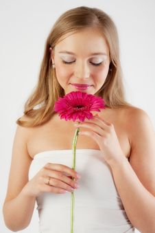Free Girl With Ping Flowers Stock Photos - 9079063