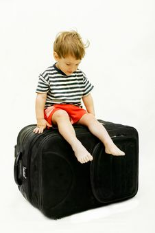 Free Young Boy On Black Suitcase Stock Images - 9079694