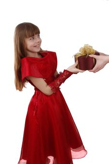Surprise. Little Girl Is Getting Gift. Royalty Free Stock Images
