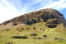 Free Rano Raraku Quarry On Easter Island Royalty Free Stock Images - 9079989