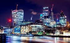 Free Skyline Illuminated At Night Stock Image - 90718181