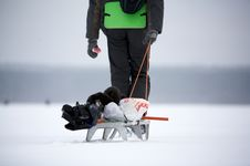 Free Man With The Sledge. Royalty Free Stock Photography - 9080697