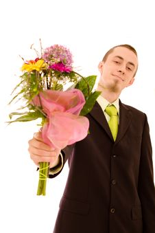 Man With Flowers Royalty Free Stock Photos