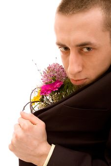 Man With Flowers Royalty Free Stock Images