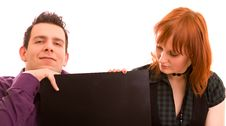 Free Couple With Banner Stock Photography - 9081202