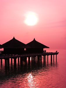 Free Water Bungalows And Sunset Stock Photo - 9082110