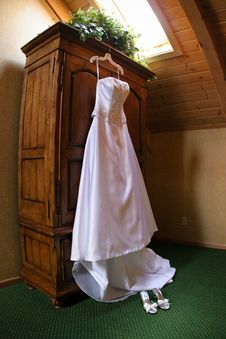 Wedding Gown Hanging Stock Photography