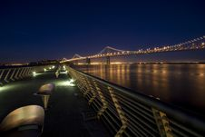 Free Bay Bridge At Night Stock Images - 9082864