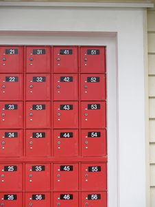 New Zealand Red Post Office Boxes. Stock Photos