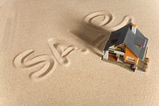 Free House On Sand. Royalty Free Stock Images - 9083729