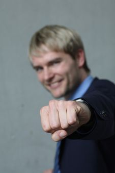 Free Man Shows Clenched Hand Royalty Free Stock Image - 9083796