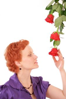 Free Woman With Roses Royalty Free Stock Photo - 9084005