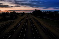 Free Railroad At Dusk Royalty Free Stock Images - 90996419
