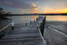 Free Wooden Pier On Seashore At Sunset Stock Image - 90997331