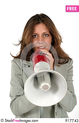 Attractive Business Woman With Megaphone 3 Stock Photo