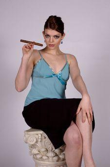 Cigar Woman Stock Images