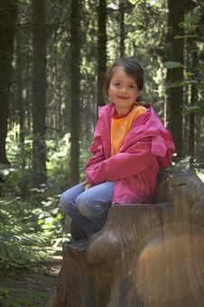 Girl Sitting On A Tree Stump 01 Royalty Free Stock Photos