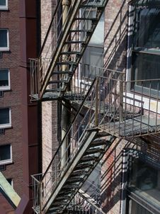 Free Old Iron Fire Escape On Apartment Building Stock Images - 916764
