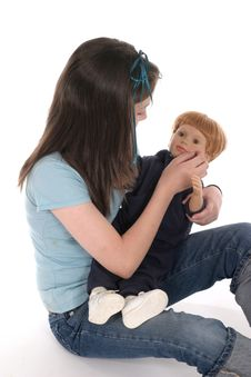 Free Girl Playing With Doll 3 Royalty Free Stock Images - 917539