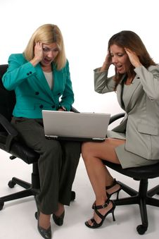 Free Two Business Women Working On Laptop 6 Royalty Free Stock Photography - 917687