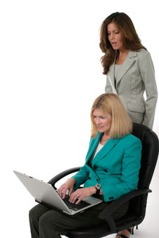 Free Two Business Women Working On Laptop 14 Royalty Free Stock Images - 917709