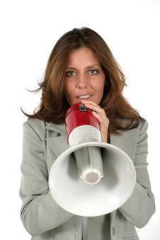Free Attractive Business Woman With Megaphone 3 Stock Photos - 917743
