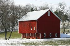 Painted Red Barn In The Country Stock Image