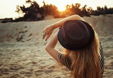 Free Woman With Hat On Beach Royalty Free Stock Image - 91106386