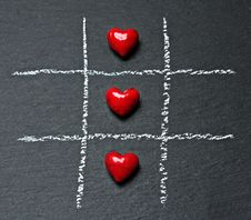 Free Hearts On Tic Tac Toe Board Stock Photography - 91106512
