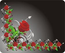 Free Red Rose. Decorative Frame Royalty Free Stock Images - 9124369