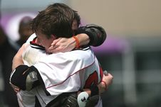 Free Sports Players Hugging Stock Photography - 91248532