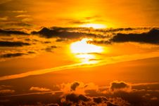 Free Orange Sun In Cloudy Sky Royalty Free Stock Photos - 91249738