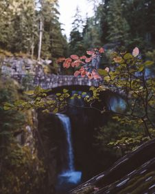 Free Stone Built Bridge Over Waterfall Royalty Free Stock Photography - 91252657