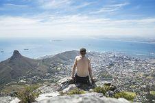 Free Man At Viewpoint Looking At Coastal Town And Sea Stock Photos - 91252933