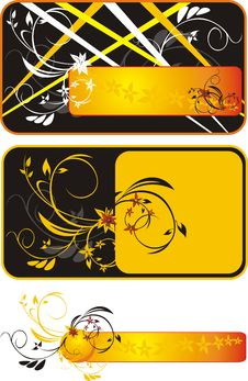Free Three Decorative Floral Banners Royalty Free Stock Photography - 9145097
