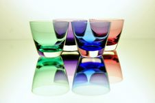 Free Four Glasses In Different Colors Royalty Free Stock Images - 9157869