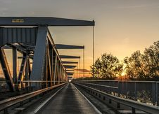 Free Railroad Bridge At Sunset Stock Images - 91520084